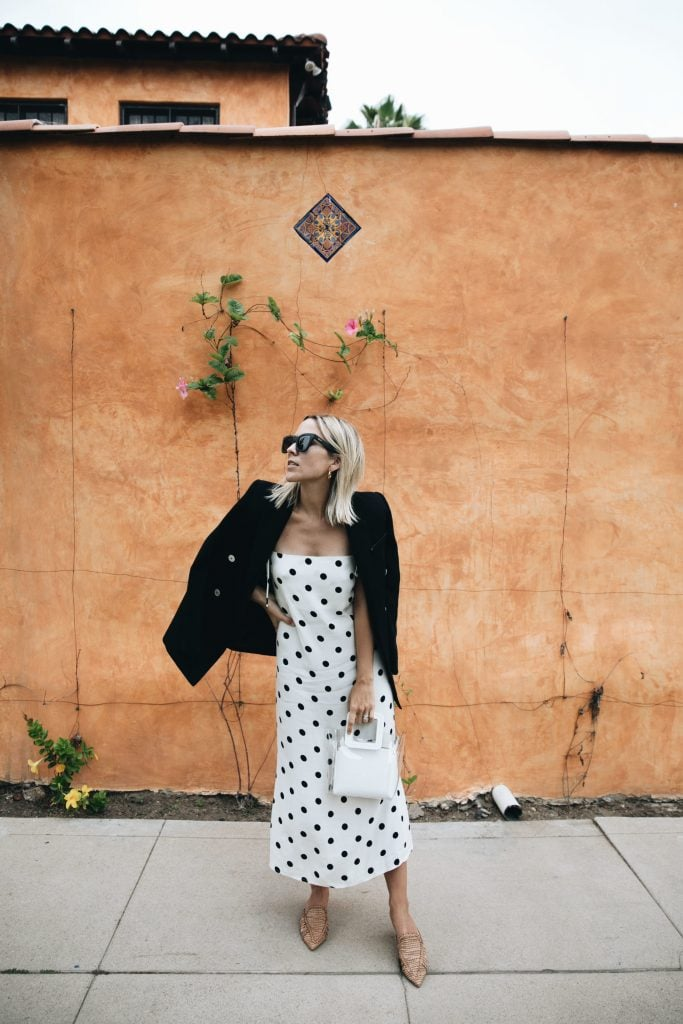 polka dots white dress black jacket cute summer fashion style