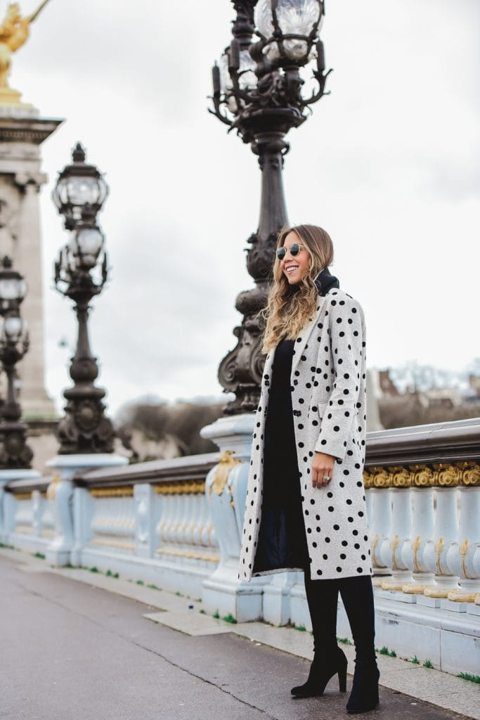 polka dots winter coat black and grey outfit paris street style
