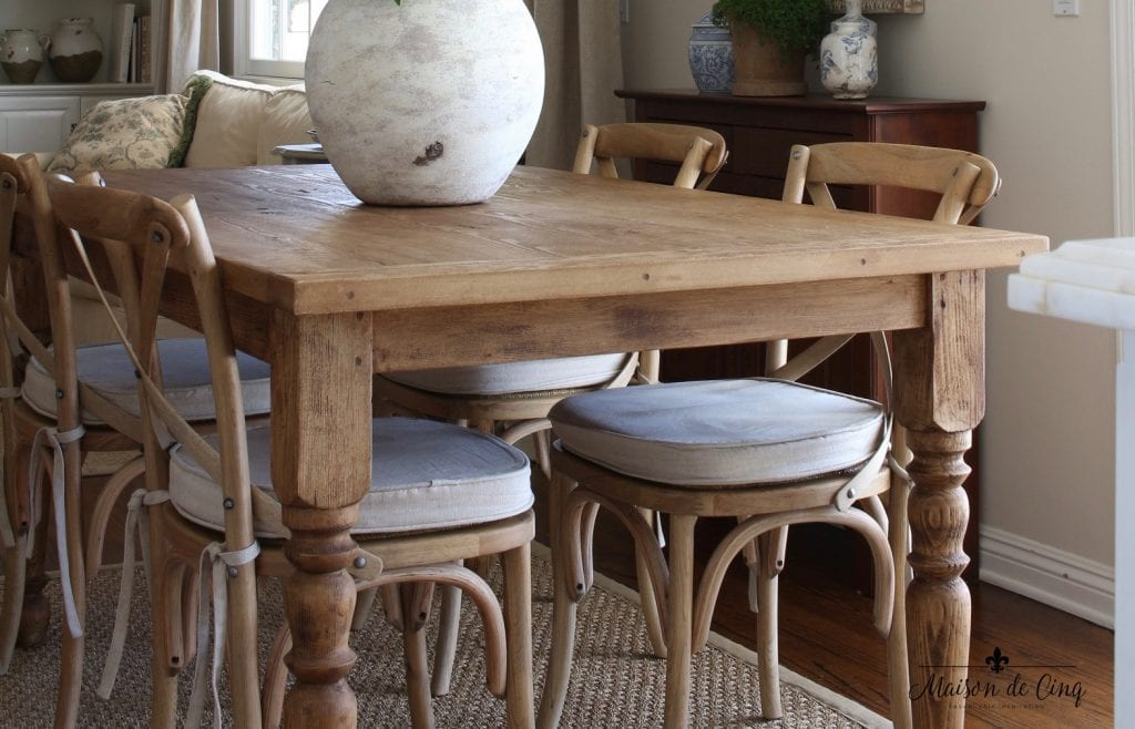 farmhouse table details close up rustic distressed finish - Breakfast Area Refresh And My New Farmhouse Table!
