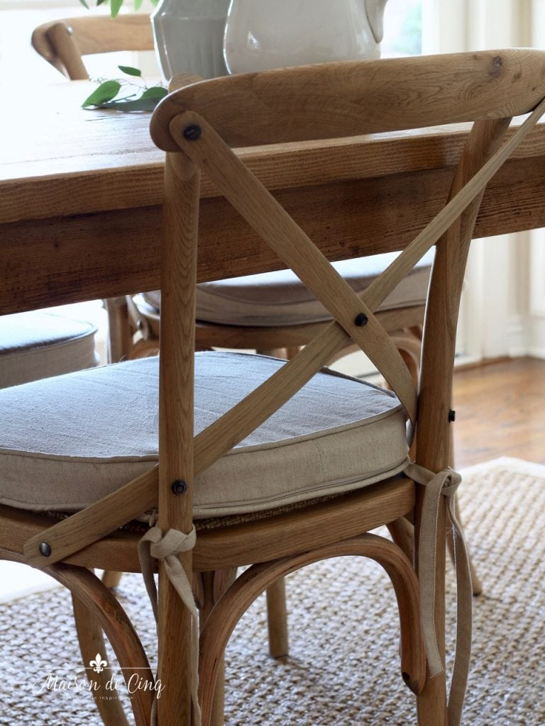 french cafe chairs close up with farmhouse table