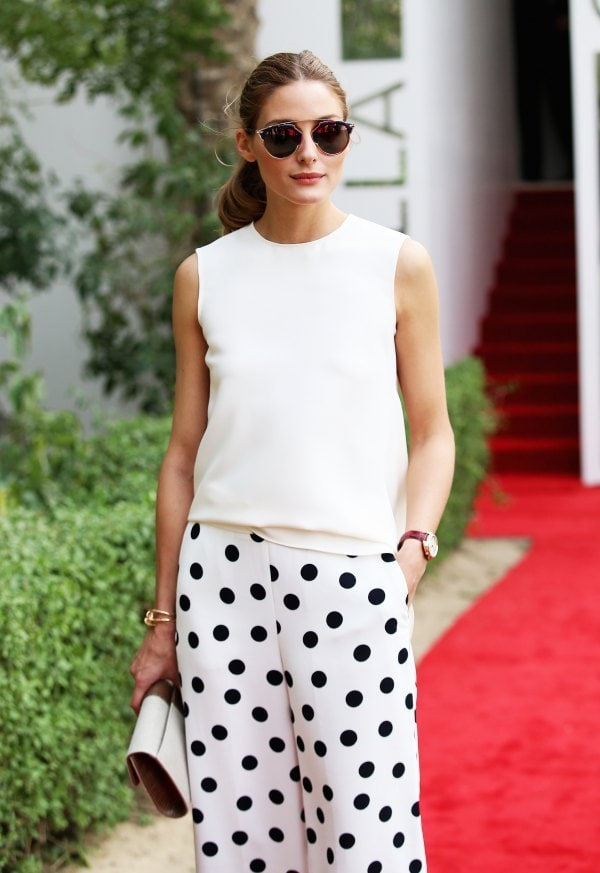 polka dots pants with white sweater chic fashion style olivia palermo