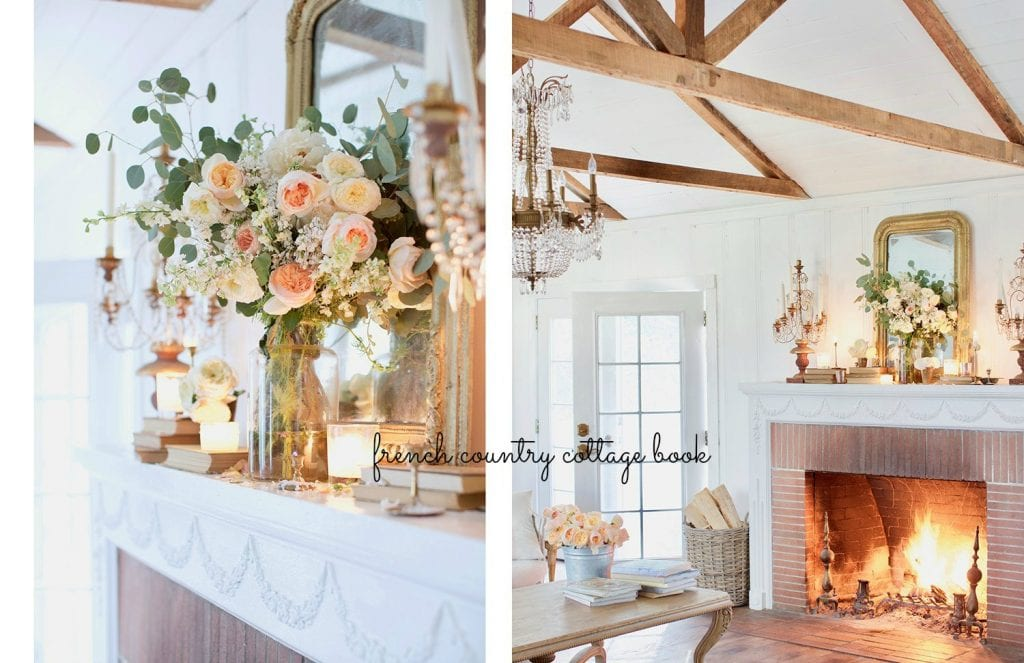 french country cottage interior shots mantel living room gold mirror crystal chandelier wood ceiling beams