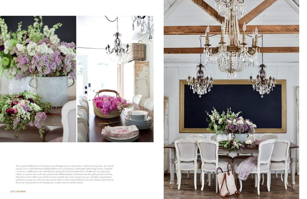 french country cottage interior shots flowers in bucket chandeliers dining room with chalkboard