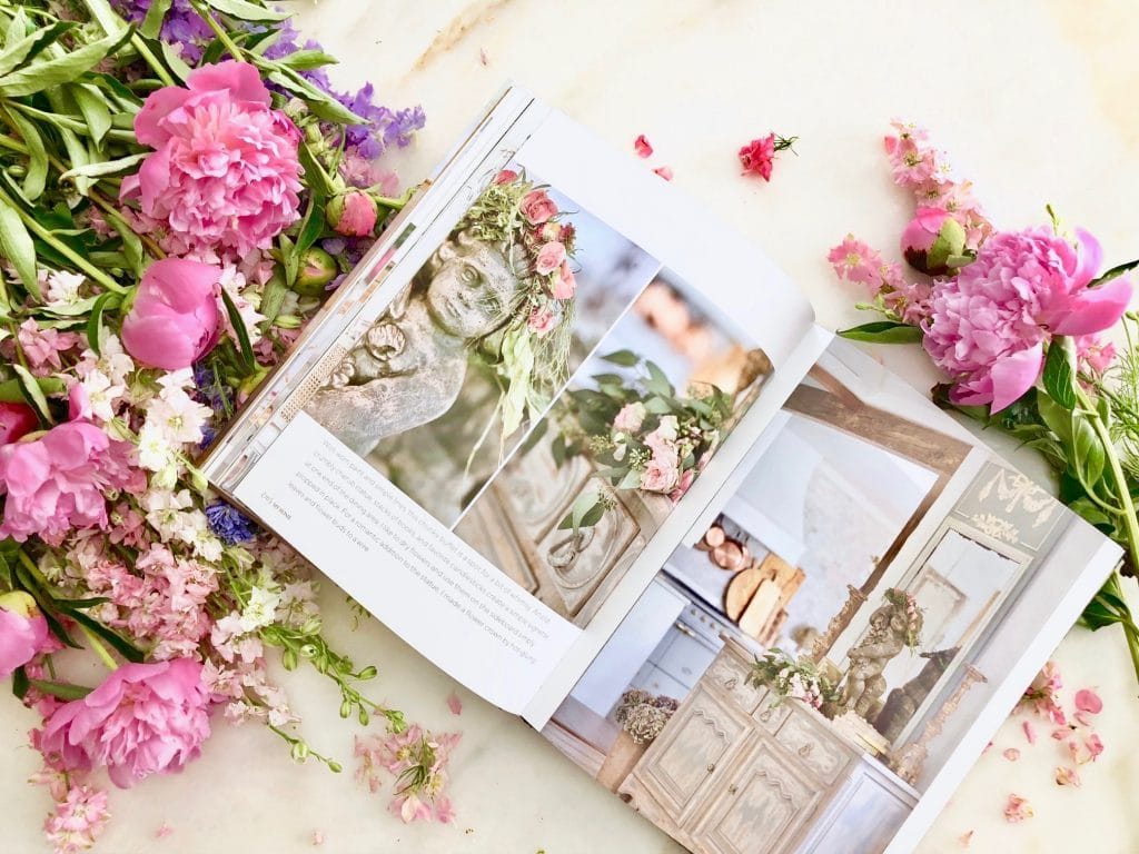 french country cottage book inside pages shot gorgeous pink peonies