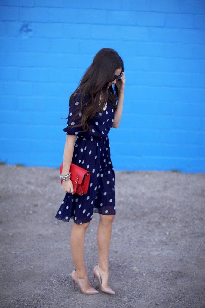 polka dot navy blue dress gorgeous fashion style