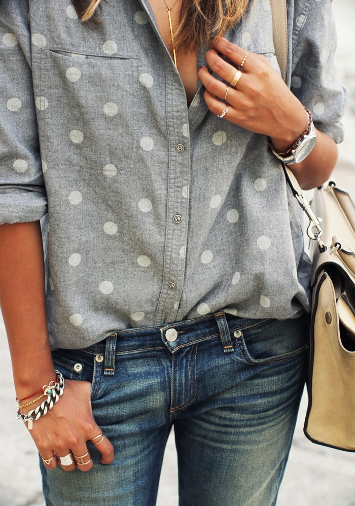 polka dot chambray shirt with denim jeans handbag cute street style casual outfit