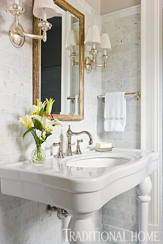 floor & decor inspiration bathroom powder room marble walls gold mirror pedestal sink