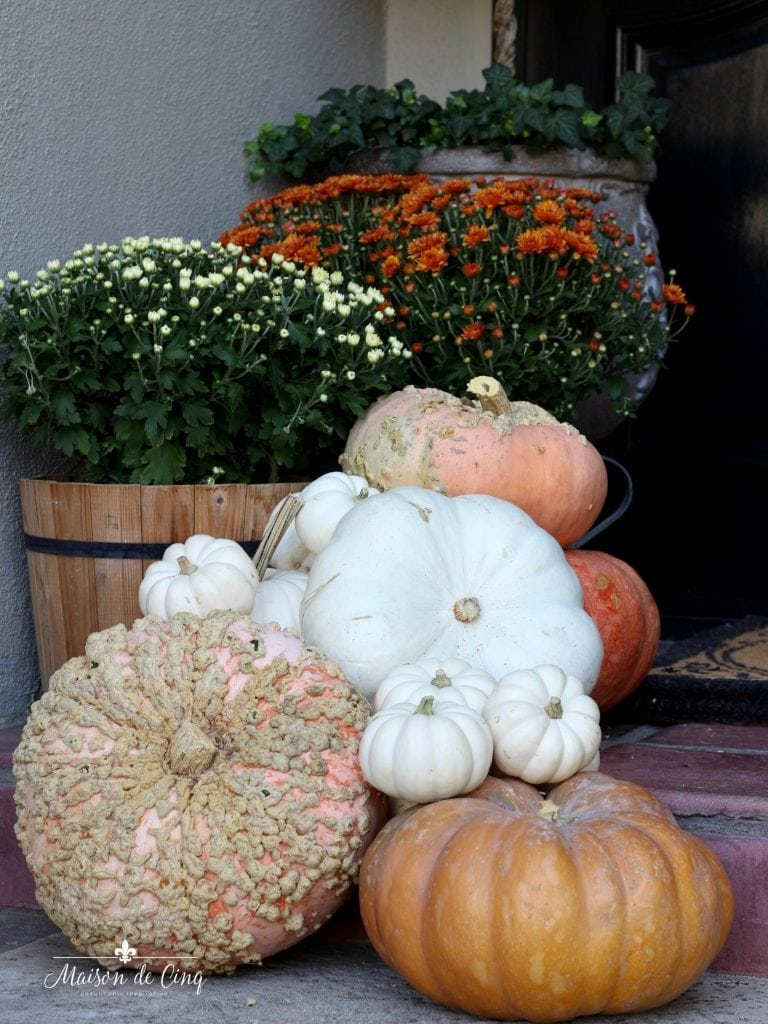 fall front porch heirloom and white pumpkins and mums autumn decor