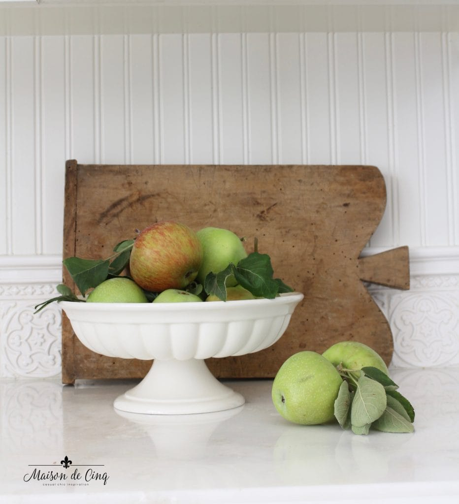 fall kitchen tour apples vintage bread board autumn vignette decor