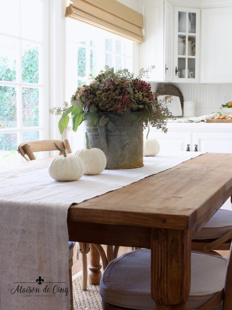 fall kitchen tour white french country kitchen with hydrangeas and pumpkins on farmhouse table