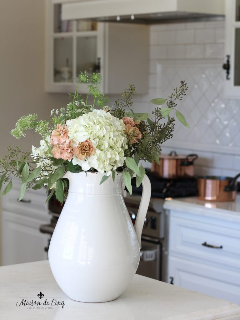 fall kitchen tour white ironstone pitcher with fall flowers french country kitchen copper pots
