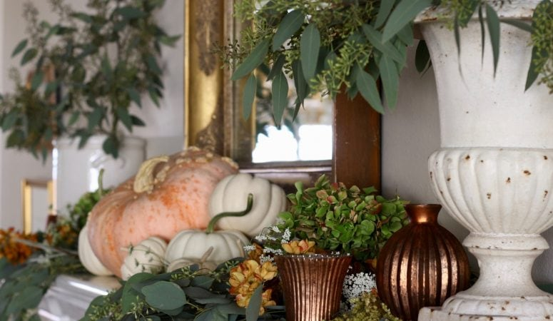 Fall Mantel in Shades of Burnished Copper