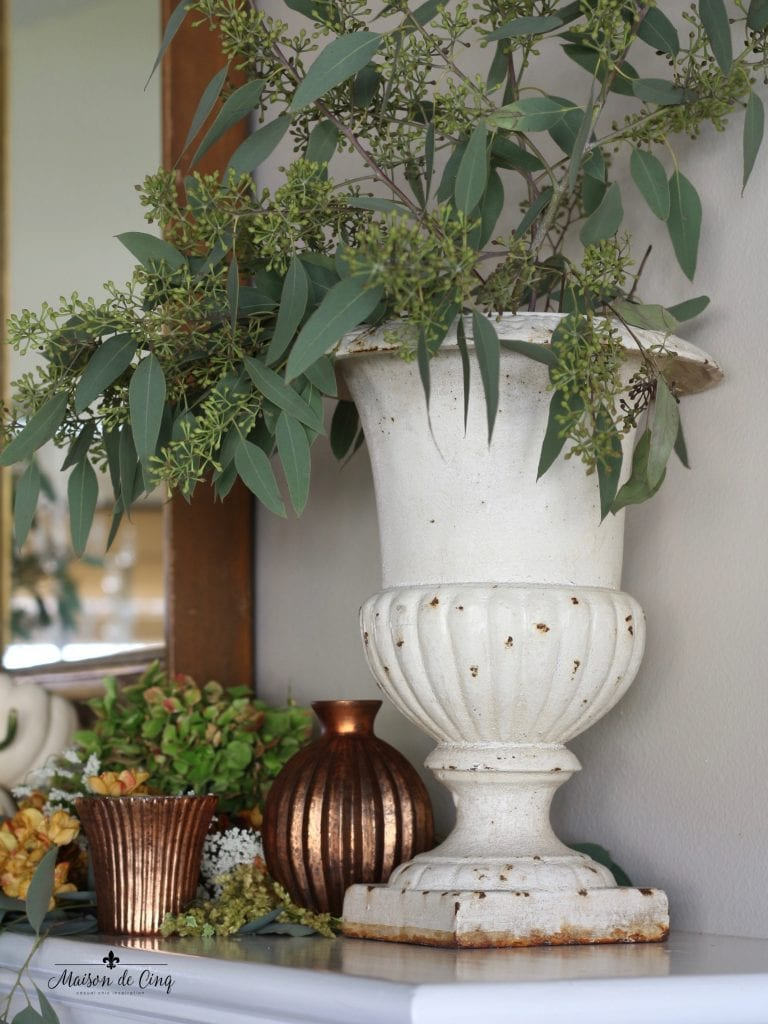 fall mantel french vintage urn eucalyptus copper votives