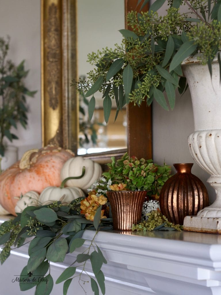 fall mantel white pumpkins copper votives french vintage urn with eucalyptus