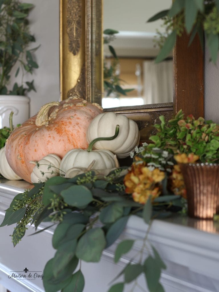 fall mantel with pumpkins eucalyptus romantic style autumn decor