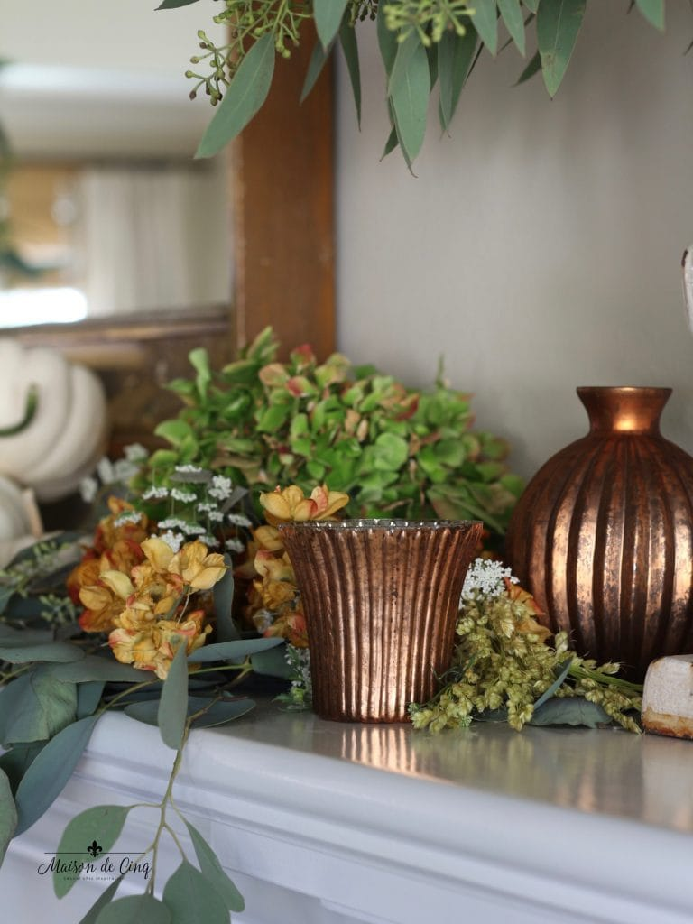 fall mantel copper votives hydrangeas eucalyptus