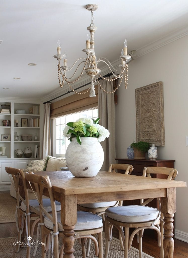 gorgeous breakfast room farmhouse table French country chandelier