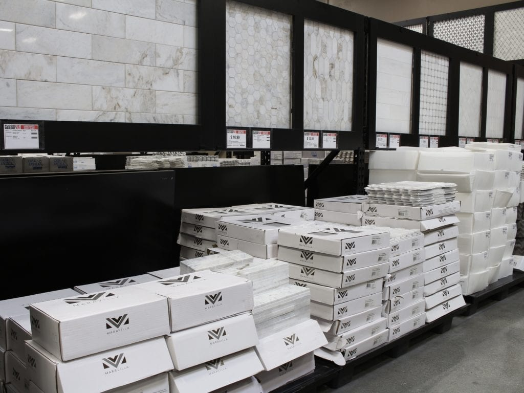 floor & decor showroom marble subway tile and other tile options