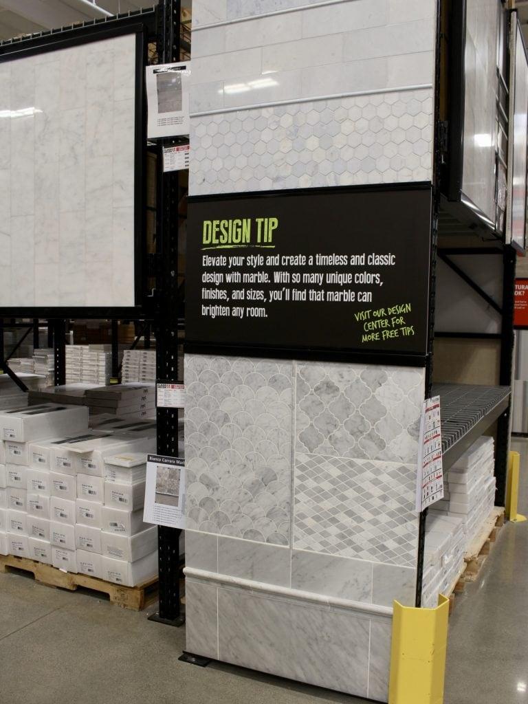 floor & decor showroom decorative marble tiles