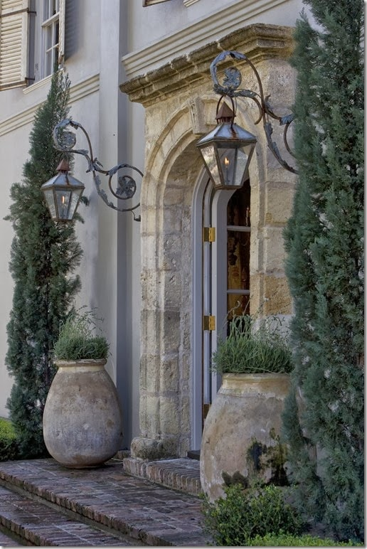 antique french olive jars entrance porch gorgeous french country home exterior