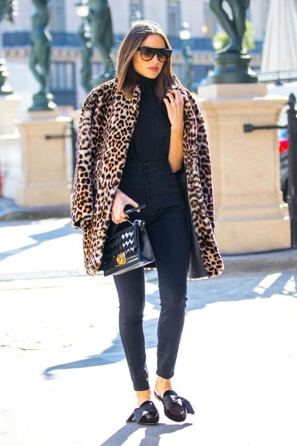 animal print trend leopard coat with black sweater and pants chic street style