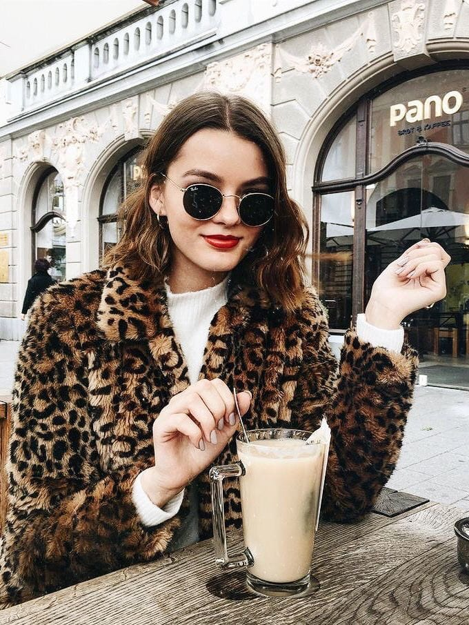 animal print trend leopard coat with white sweater gorgeous fall fashion