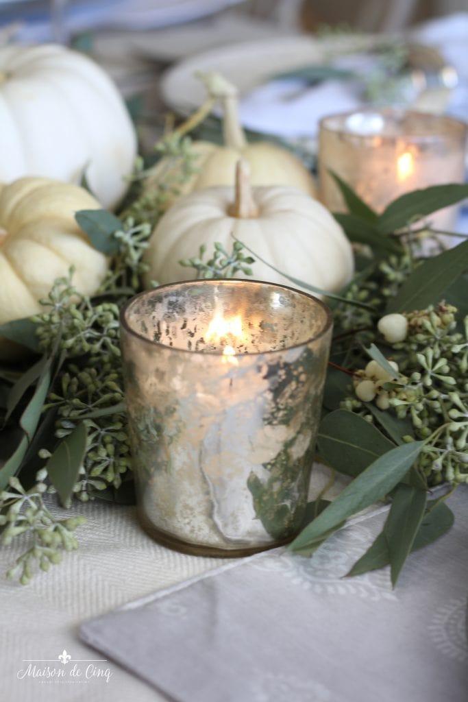 neutral fall table mercury glass votive white pumpkins eucalyptus