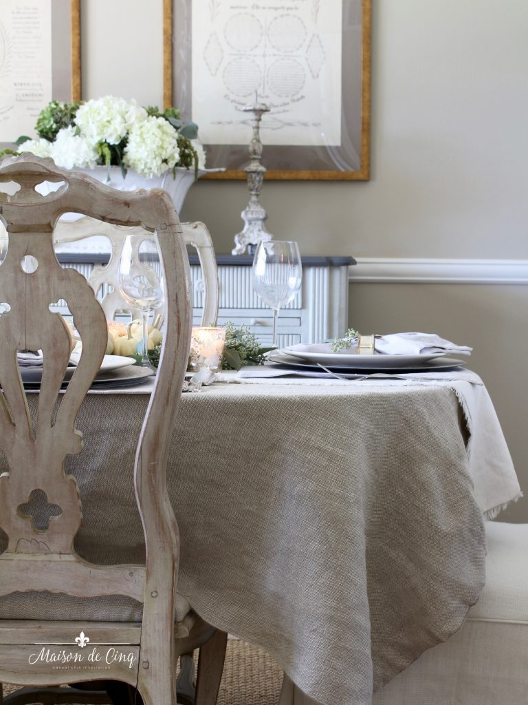 neutral fall table linen tablecloth white hydrangeas french country dining room