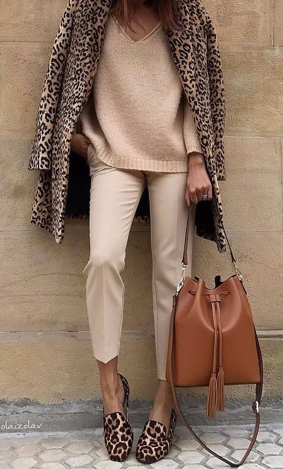 animal print trend leopard coat and loafers with camel pants and sweater street style fashion