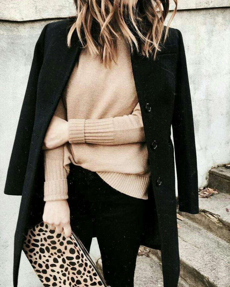 animal print trend black coat camel sweater and leopard clutch gorgeous fashion style outfit
