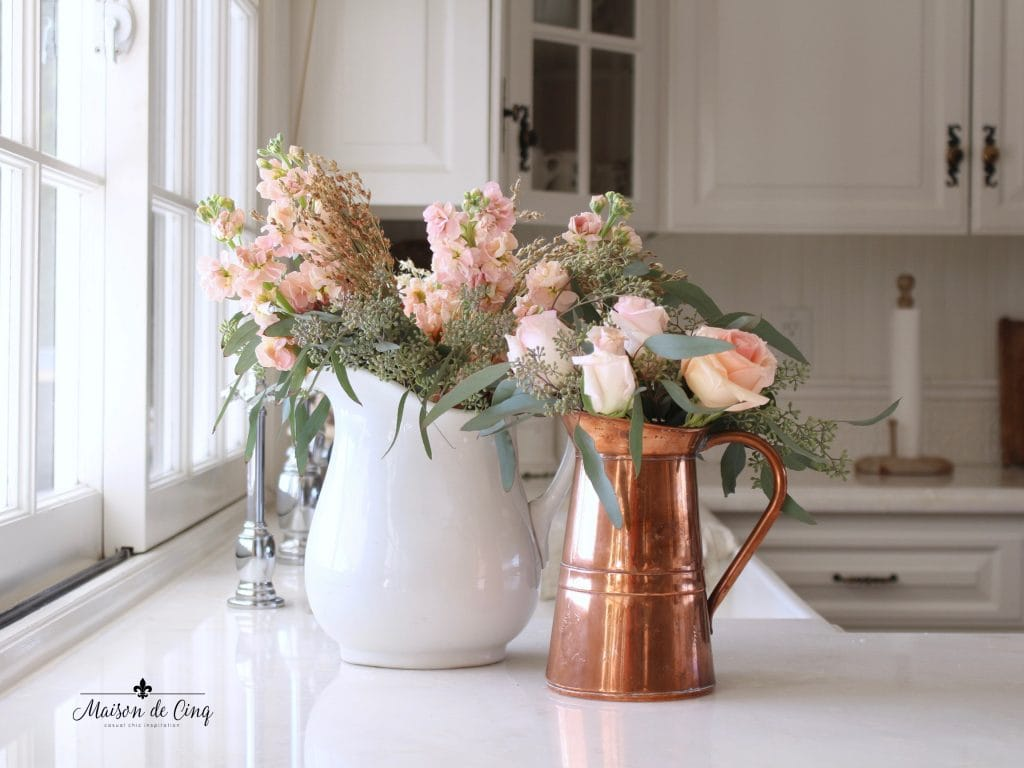 decorating with copper white french country kitchen copper pitcher fall flowers