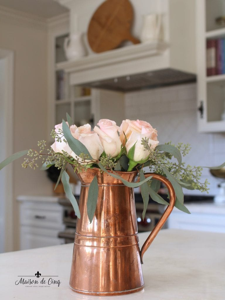 decorating with copper for fall copper pitcher in white farmhouse kitchen autumn decor