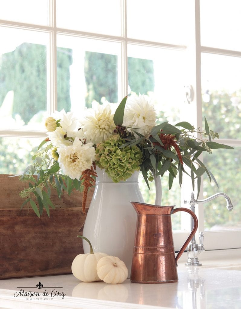 gorgeous vintage copper pitcher white pumpkins and fall florals in ironstone pitcher fall decorating ideas