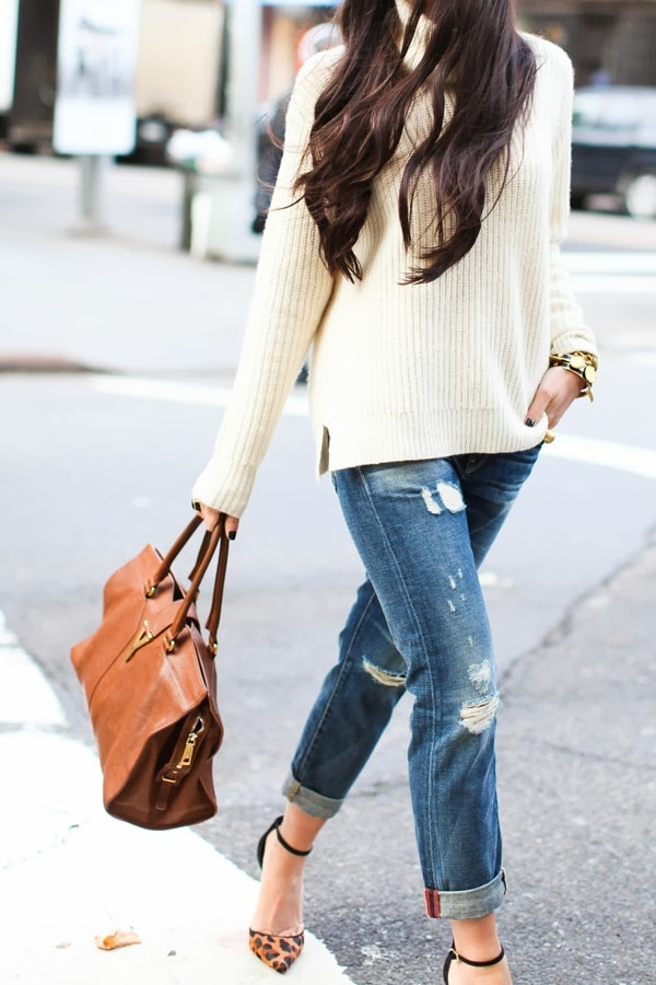 animal print trend leopard pumps with cream sweater and boyfriend jeans cute street style fall fashion