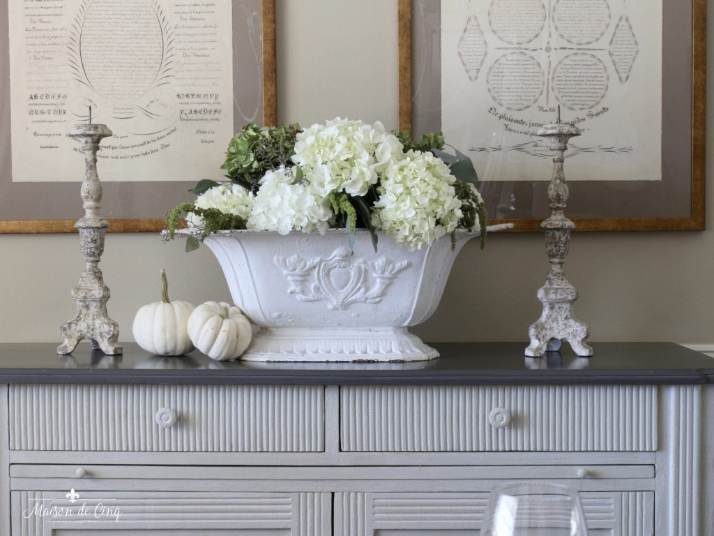 neutral fall table white hydrangeas white pumpkins french country style dining room