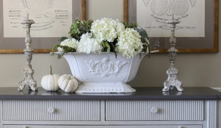 Neutral Fall Table with White Pumpkins and Eucalyptus