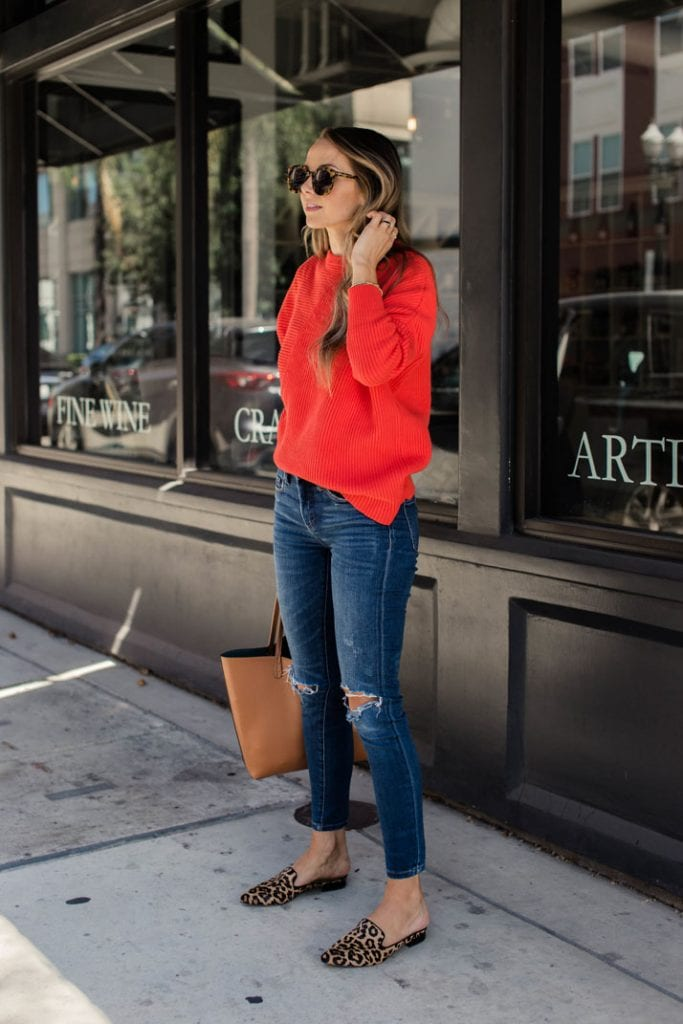 animal print trend leopard mules with red sweater and jeans cute street style fall fashion