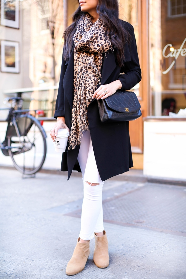 animal print trend leopard scarf black coat booties chic street style fall fashion