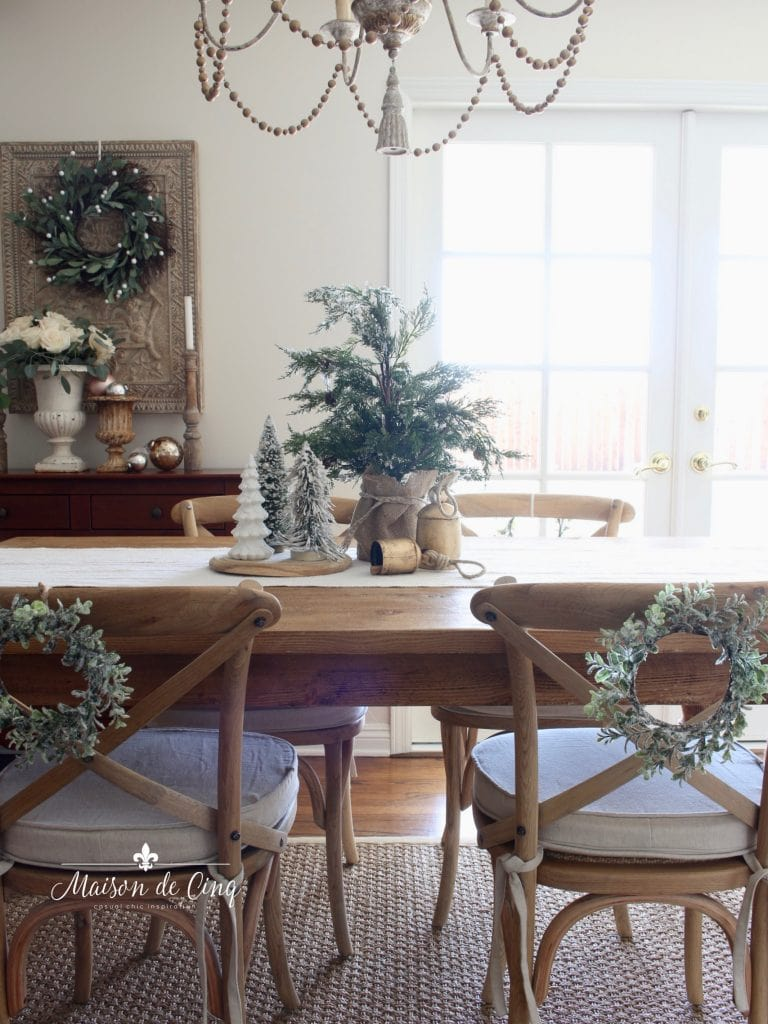 christmas kitchen tour farmhouse table with wreath and trees holiday decor