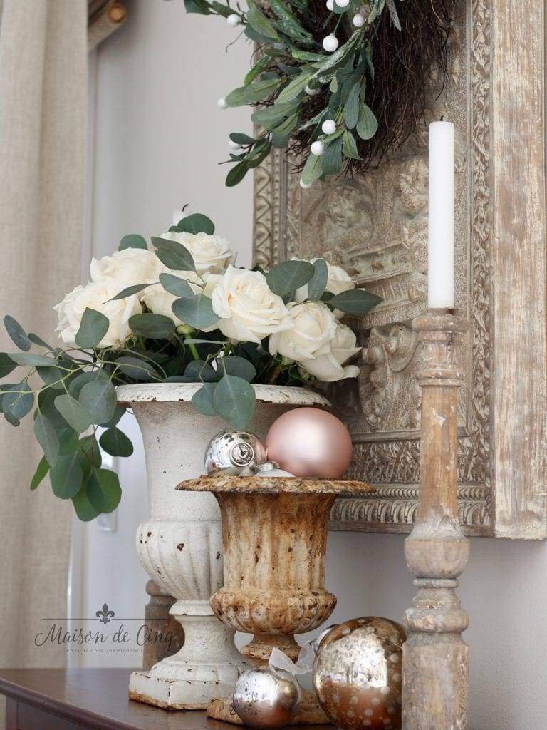 christmas kitchen tour soft romantic blush holiday decor french country style