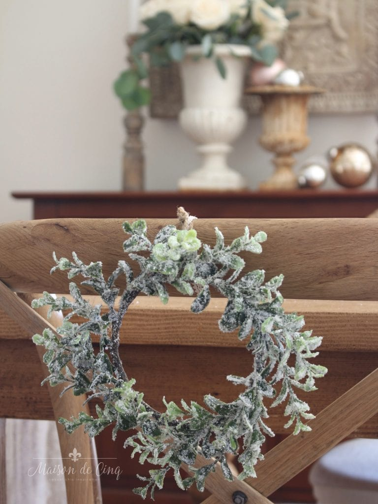 christmas kitchen tour mini wreath on dining chair french country style holiday decor