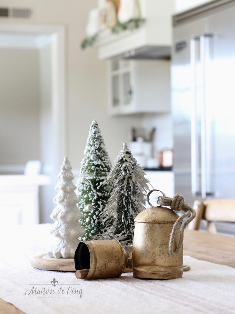 christmas kitchen tour white french farmhouse kitchen trees brass bells charming holiday decor