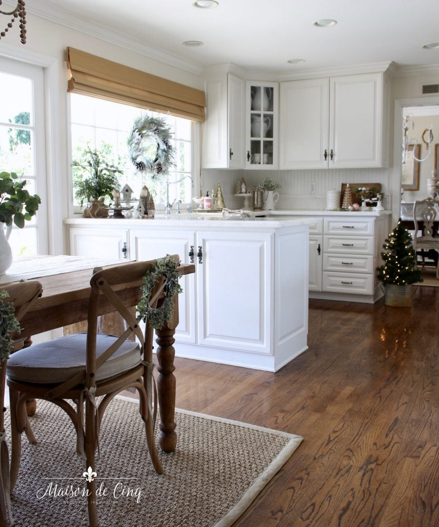 christmas kitchen tour white french country kitchen with wreath christmas trees and greens holiday decor