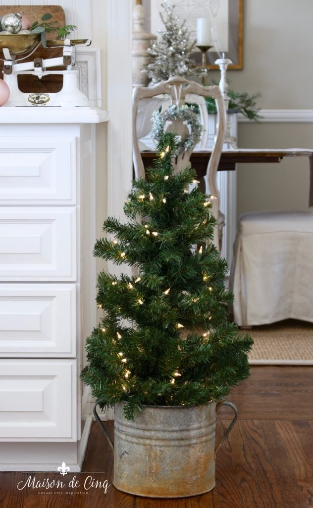christmas kitchen tour white farmhouse kitchen with christmas tree in vintage bucket