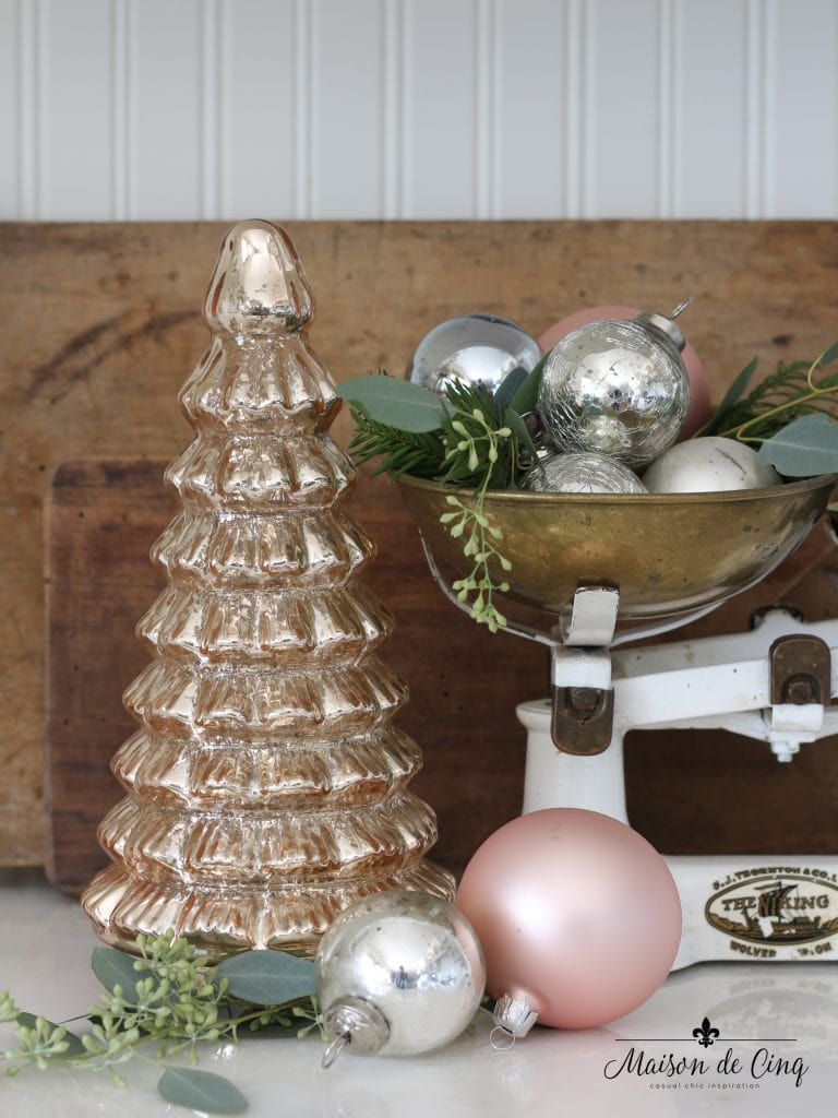 christmas kitchen tour blush mercury glass tree white vintage scale ornaments french country style