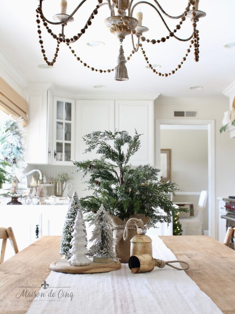 christmas kitchen tour farmhouse table with trees and bells holiday decor