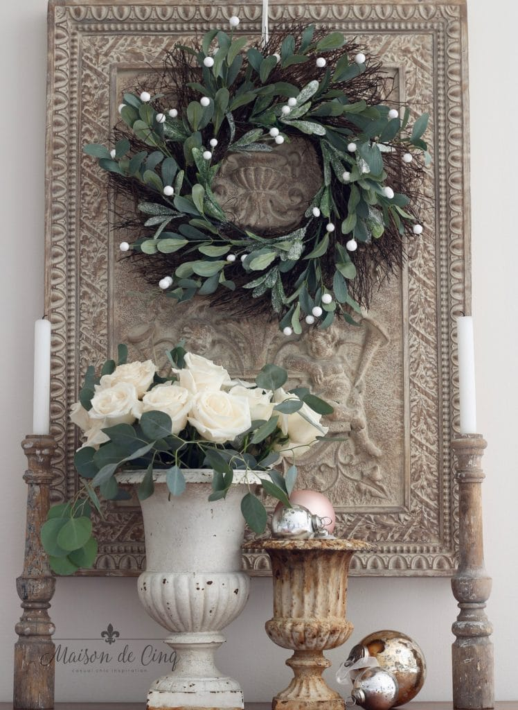 christmas kitchen tour wreath urns roses and ornaments french country style holiday decor