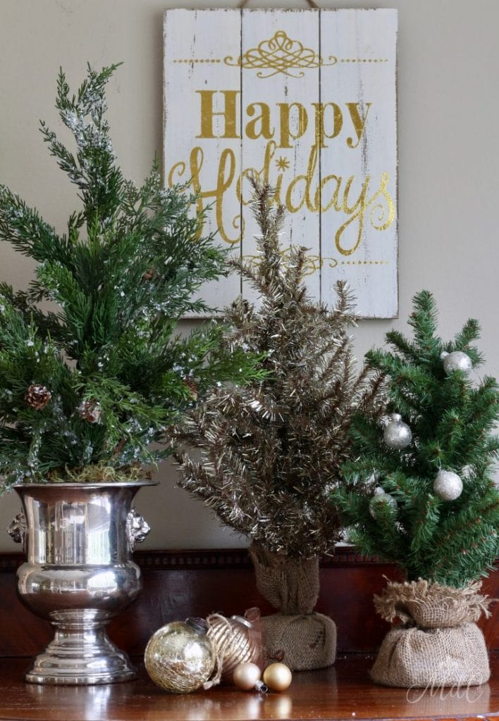 french christmas decor little trees holiday sign dining room decor
