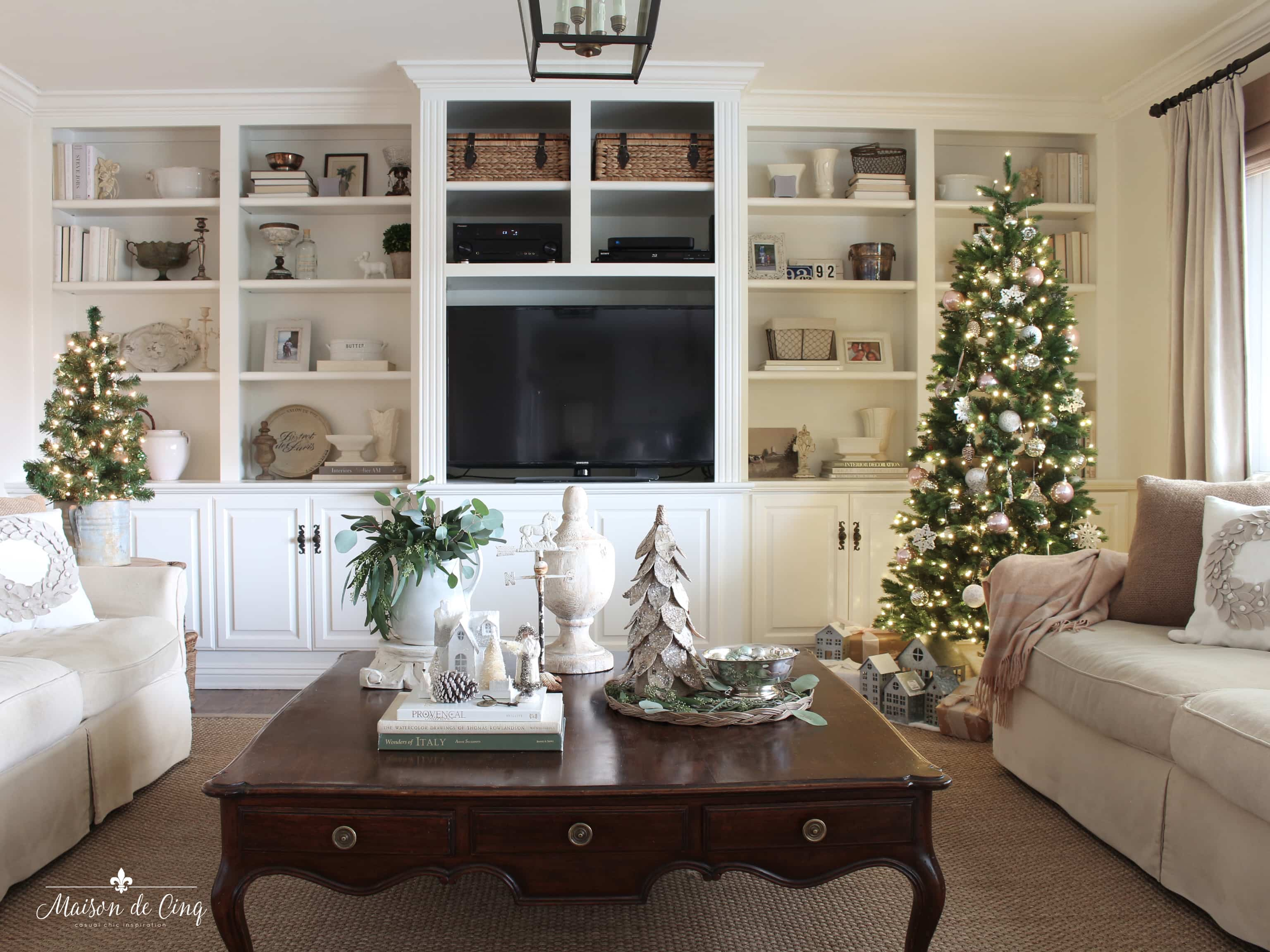 French farmhouse Christmas family room tour gorgeous neutral holiday decor christmas tree