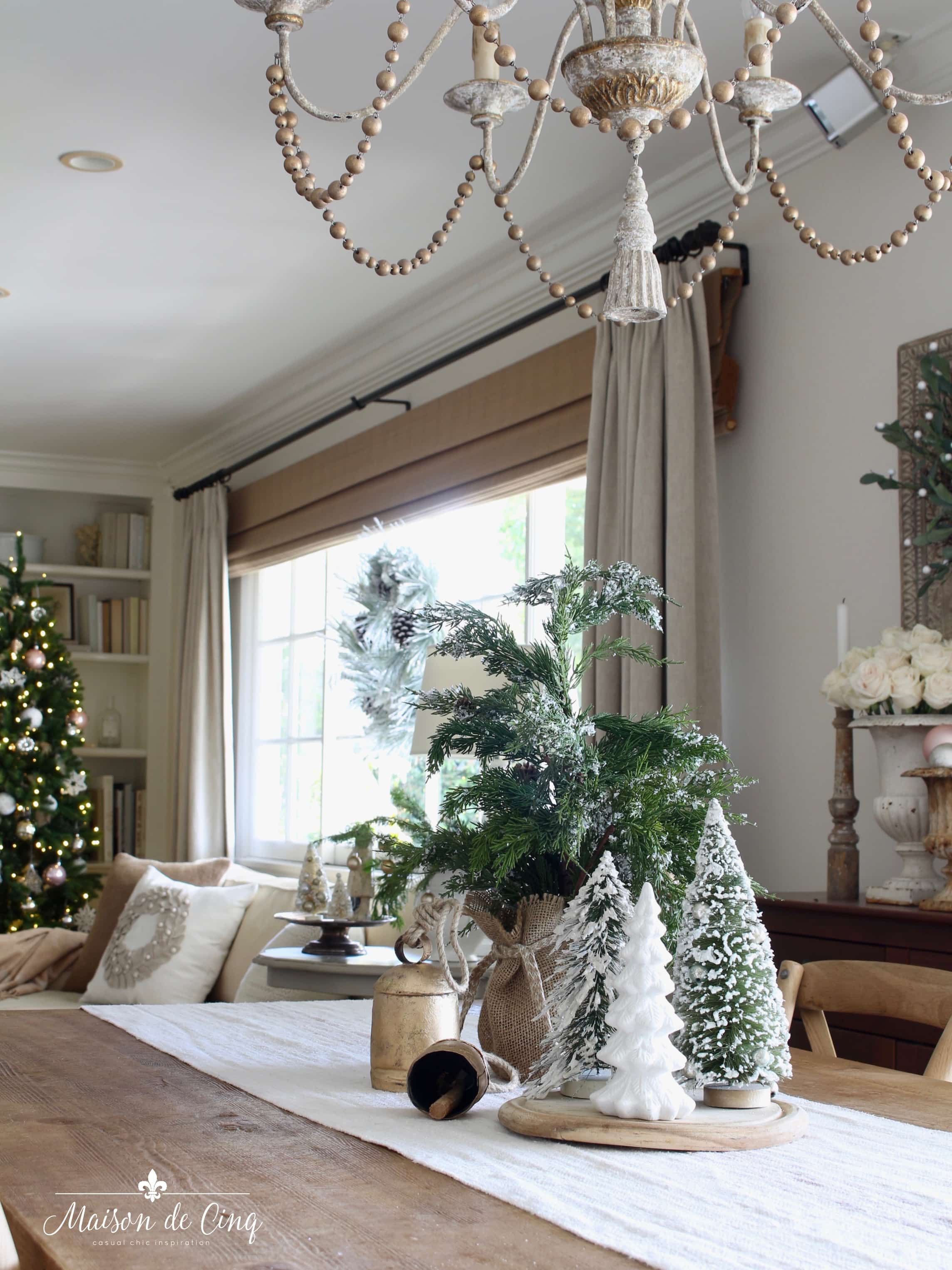 French farmhouse Christmas tour breakfast room farmhouse table christmas tree holiday decor